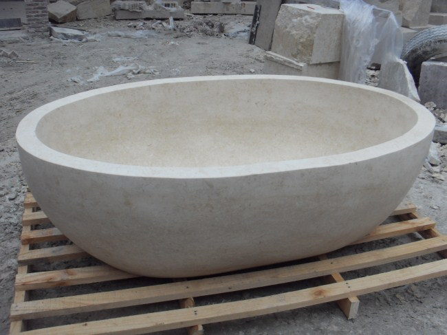 Natural White stone bathtub for bathroom