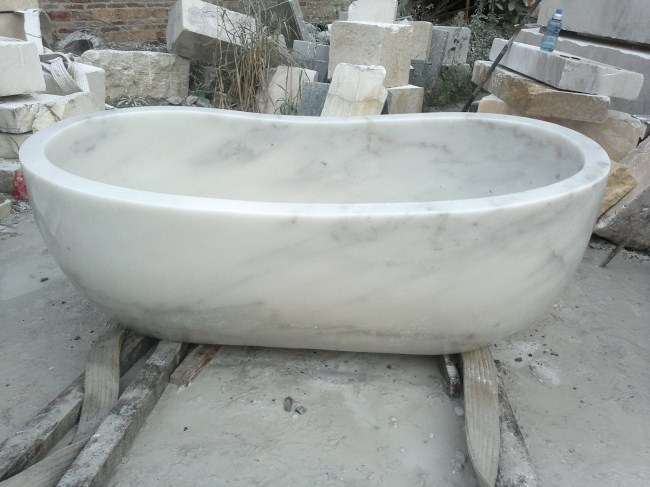 Natural stone white bathtub stone bathtub for bathroom