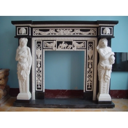 antique design marble fireplace mantel