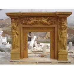 hand carved decoration yellow marble fireplace